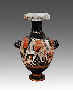 """Black-glaze hydria with polychrome decoration, ca. 325-300 B.C. Greek. Archaeological Museum, Amphipolis 