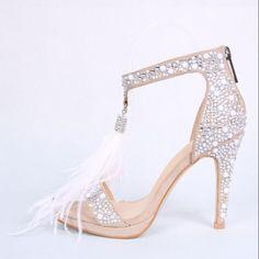 Feminino elegante de couro aberto Toe Salto Alto Stiletto Sapatos Casamento Strass Sandálias
