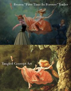 Tangled concept art showing up in the trailer for Frozen