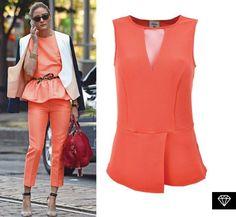 Inspírate en el look color mandarina de Olivia Palermo y empieza la semana con un montón de energía.