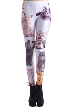 Various Cat Faces Print Leggings