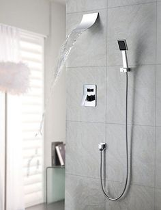 General Bathroom Shower Tap Bathtub Tap Contemporary Waterfall Rain Shower Handshower Included Brass Chrome *** More info could be found at the image url.