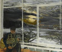 """Colin William Dick, """"Individual Exercise"""", 1958, Oil on board, 50.8 x 60.9 cm, Herbert Art Gallery & Museum"""
