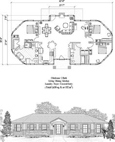 Prefab Homes House Plan: 3 Bedrooms, 2 Baths, 1630 sq., Classic Collection by Topsider Homes Round House Plans, Beach House Plans, New House Plans, Dream House Plans, Small House Plans, House Floor Plans, House Layout Plans, House Layouts, Octagon House