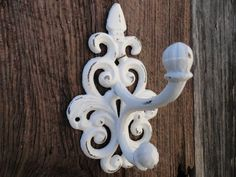 French Country Wall Hook/White/Wall Decor/Bathroom Hook/Ornate Wall Decor/Coat,Towel Hook/Shabby Chic Wall Hook/Metal Wall Hook/Wrought Iron