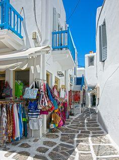 Island of Mykonos - Shopping, anyone?  ASPEN CREEK TRAVEL - karen@aspencreektravel.com
