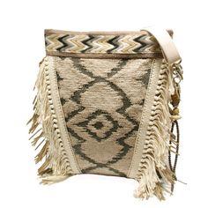 Bohemian schoudertas beige grijs, grote tas met franje, handgemaakte handtas Navajo indianen motief, exclusieve tas van stof, OOAK tas