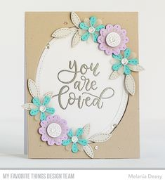 Stamps: 100% Lovable  Die-namics: Stitched Blooms Card Kit, Single Stitch Line Oval Frames    Melania Deasy  #mftstamps
