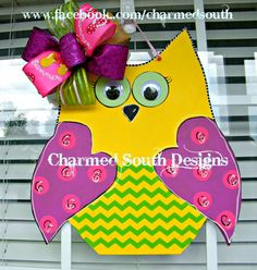 PicMonkey: Design That Works Painted Doors, Wood Doors, Custom Woodworking, Woodworking Projects Plans, Owl Door Decorations, Wooden Owl, Wood Cutouts, Kids Wood, Pink Summer