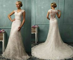 2014 New Sexy V-Neck Lace/Applique A-line Illusion Wedding Dresses Ruffles Bridal Gown AmeliaSposa Collection Covered Button Wedding Dress - Braut Wedding Dress Illusion Back, Lace Back Wedding Dress, Wedding Dress Buttons, Wedding Dress Organza, Wedding Dresses With Straps, Illusion Dress, Gorgeous Wedding Dress, Bridal Dresses, Wedding Gowns