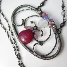 Pink Sapphire Bloom Necklace by glowfly on Etsy