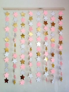 Pink and gold star BACKDROP- nursery star wall hanging / star mobile / twinkle twinkle little star party / star party backdrop / star mobile – Baby Shower Ideas for Girls – Grandcrafter – DIY Christmas Ideas ♥ Homes Decoration Ideas Baby Shower Backdrop, Girl Baby Shower Decorations, Baby Shower Themes, Shower Ideas, Star Wars Party, Star Party, Twinkle Twinkle Little Star, Pink And Gold Decorations, Party Kulissen