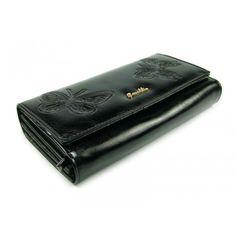Černá kožená dámská peněženka s motivem motýlů - peněženky AHAL Money Clip, Zip Around Wallet, Money Clips
