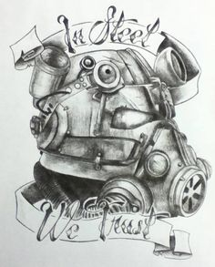 In Steel we Trust, Brotherhood of Steel.  Fallout Tattoo design