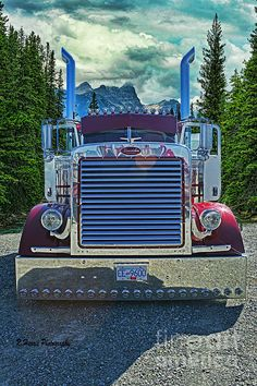 This beautiful Petrbilt was photographed at the Big Rig Weekend Truck Show with the background photo I took up at Lake Louise. The two images combined make for a unique truck photo. Big Rig Trucks, Heavy Duty Trucks, Show Trucks, Lifted Trucks, Peterbilt 379, Peterbilt Trucks, Ford Trucks, Custom Big Rigs, Custom Trucks