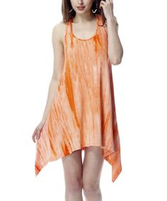 Take a look at this Orange Tie-Dye Sidetail Racerback Dress by Classique on #zulily today!