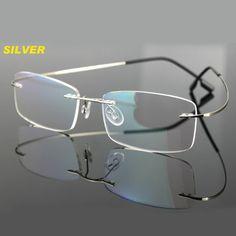41b4907786b Aliexpress.com  Comprar Sin rebordes titanium memoria lentes flexibles  plata lente de aumento gafas
