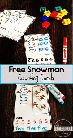 These FREE Snowman Counting Cards are a fun way for preschool and kindergarten age kids to practice counting, writing numbers & number words. Math Activities For Toddlers, Snow Activities, Preschool Math, Toddler Preschool, Toddler Age, Winter Theme For Preschool, Maths, Winter Preschool Activities, Fun Math