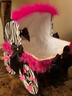 The Oslyn 14 Inch Black And Pink Zebra Baby by TheCarriageShoppe, $45.00