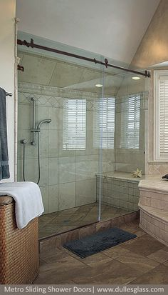 There is an easy, cost-effective way to transform your bathroom from blah to luxury. The Metro sliding bathtub door is sleek and beautiful - a frameless solution that lets you kiss your shower curtain GOODBYE! Bathtub Doors, Glass Shower Doors, Shower Systems, Beautiful Bathrooms, Master Bathroom, Modern Design, Bath Ideas, Mirror, Vanities