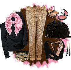 """Pink & Brown"" by k-cat on Polyvore"