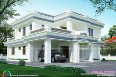 3556 square feet (330 Square Meter) (395 Square Yards) modern flat roof house with 4 bedrooms. Design provided by R it designers, Kannur, Ke...
