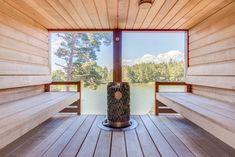 Luxur y Küche Design Moderne-Layout . Modern Saunas, Sauna House, Outdoor Sauna, Sauna Design, Natural Building, Luxury Kitchens, Coastal Homes, Luxury Homes, Outdoor Furniture Sets