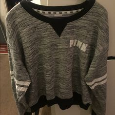 PINK HEATHER GREY CREWNECK In great used condition. Size large. Very cute on. No trades PINK Victoria's Secret Sweaters Crew & Scoop Necks