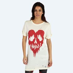 Drop Dead Clothing - Skull Fucked T-shirt (Cream) Band Outfits, Emo Outfits, Drop Dead Clothing, Rad Clothing, Country Outfits, Fashion Wear, Western Wear, Fancy, T Shirts For Women