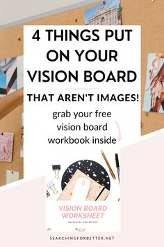 4 DIY Vision Board Ideas (That Aren't Images!). Learn how to make an amazing vision board with these simple creative ideas. This free printable also has a great template to help you design the best vision board you can for yourself! Find inspiration on how to turn your goal setting ideas into an amazing vision board. Vision Board Images, Vision Board Template, Journal Writing Prompts, Creating A Vision Board, Visualisation, Spiritual Messages, Mind Body Soul, Board Ideas, Self Development