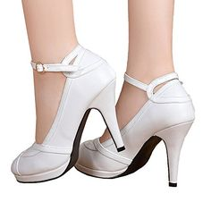 438ba7e3d53 Getmorebeauty Women s Vintage Retro Strappy White Wedding Bridal Shoes Dress  High Heels 10 B(M) US  vintage white heels Heel measures approximately  Platform ...