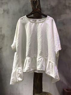 Solid Color Linen Plus Size Tunic Summer Flouncing Oversized Shirt    #black #oversized #shirt #blouse #woman #casual #linen