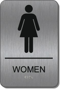 ADA Brushed Metal Womens Restroom Signs with Braille, ADA Signs Restroom Signs, Ada Signs, Office Bathroom, Brushed Metal, Women, Women's