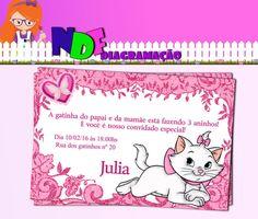 Convite Gatinha Marie Digital Gata Marie, Maria Clara, Aristocats, Minnie Mouse, Cross Stitch, Baby Shower, Disney, Party, Invitation Birthday