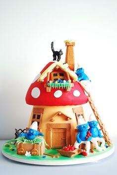Gâteau enfants Box Schtroumpfs