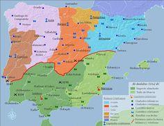 Mapa de los Reinos de España en 1162.