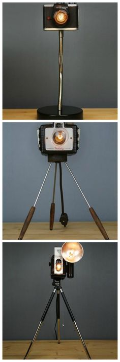 LAMPS made from vintage cameras. Very cool!!