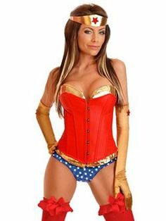 Adult Superhero Corset and Booty Shorts | Cheap Super Heroes Halloween Costume for Sexy