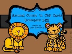 "Animal Count and Clip Cards Freebie (1-12) These Count 'n Clip Cards are so cute and are a perfect addition to your math center activities!   Have students work together or independently to count the animals on the cards and use a clothespin to ""clip"" the correct number of animals on each card."
