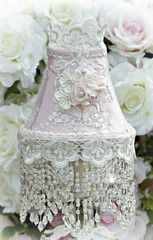 Roses and Pearls Small Beaded Victorian Lampshade - Victorian Lampshades - Roses And Teacups