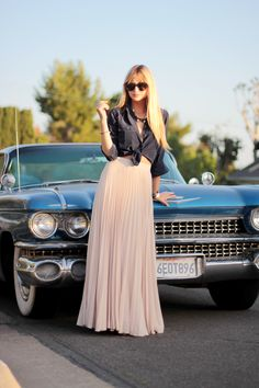 Tied button up & pleated maxi = LOVE