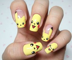 Cool Pokemon Nails Design, cool nail designs you can do yourself, glitter fade nail ~ Cool Nail Art Ideas Crazy Nail Art, Crazy Nails, Cool Nail Art, Cute Nails, Pretty Nails, My Nails, Fancy Nails, Long Nails, Pikachu Nails