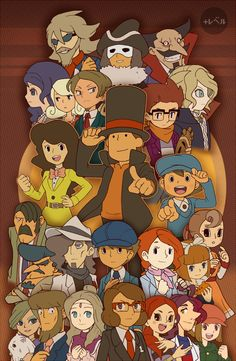 bonus–level:Here is a Layton Print I remade from a very long time ago,  I know there are a couple games I'm missing that's JP region only. It's been a very long time since I've been into layton and I still adore it very much and has made me meet so many nice people. Please reblog this original post and do not reblog any repost! Available as print!