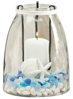 Glass Candle Holders with Inserts... http://www.completely-coastal.com/2015/08/jar-candle-holders-with-inserts.html Iron inserts allow for easy placing of candle in glass jar. And on the bottom is space for a display!