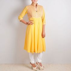 Yellow Anarkali Suit with Embroidered Yoke & Back