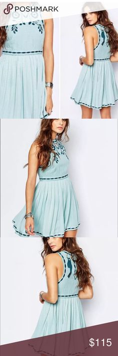 """NWT Free People Birds of a Feather Dress Size 8 Free People Birds of a Feather Embroidered Swing Dress in a size 8. Beautiful """"Sea Fog"""" mint blue color. Gorgeous  embroidery throughout! Brand new with tags attached. Free People Dresses Mini"""