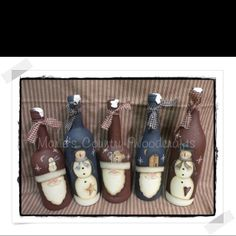Hand painted wine bottles.  Or in my case, sparkling juice bottles. ;D