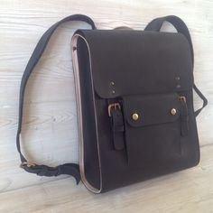 Leather laptop rucksack by wolfram Lohr
