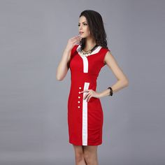 Women Formal Dress 2016 New Fashion Womens Work Wear Patchwork Dresses Office Ladies Slim Dress -- Check out the image by visiting the link.