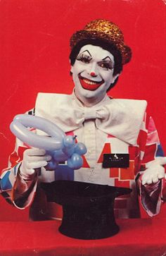 """LOLLY the MAGIC CLOWN  based in Jackson, Michigan and billed himself as an """"Entertainment Specialist.""""  http://bad-postcards.tumblr.com"""